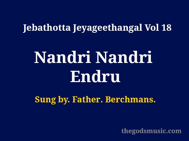 Nandri Nandri Endru Christian Song Chords And Lyrics